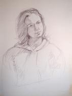 Life Drawing of model, conte crayon
