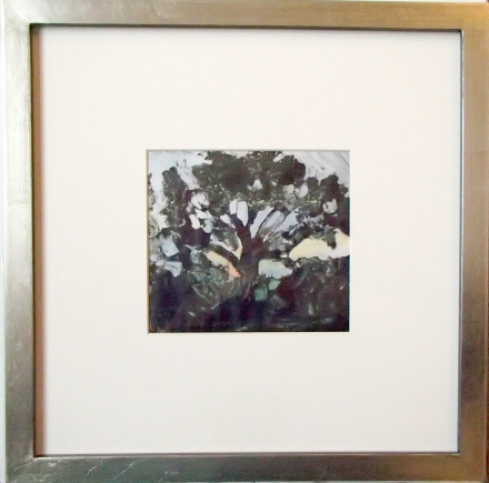 "Cottonwood Dark 12"" square, framed. Artwork 5"" x 5.25"". Monotype with hand painting."