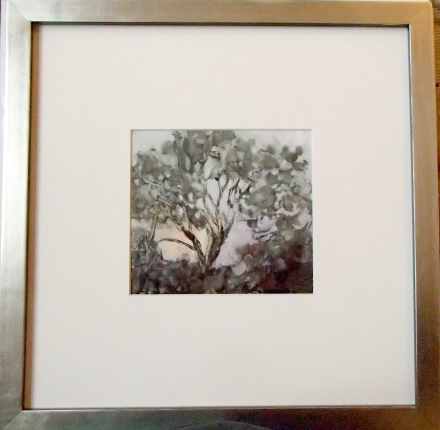 "Cottonwood Fog 12"" square, framed. Artwork 5"" x 5.25"". Monotype with hand painting."