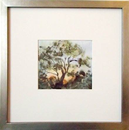 "Cottonwood Sunsrise 12"" square, framed. Artwork 5"" x 5.25"". Monotype with hand painting."