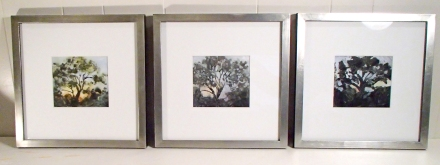 "Cottonwood Triptych 12"" square, framed. Artwork 5"" x 5.25"". Monotype with hand painting."