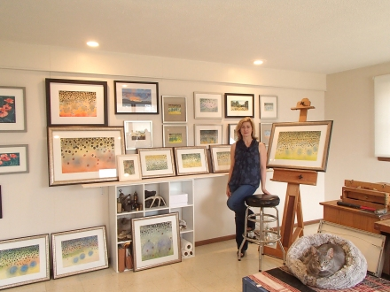 Me with artwork that is ready to be delivered to Abbey Lane Gallery, Creede, Colorado