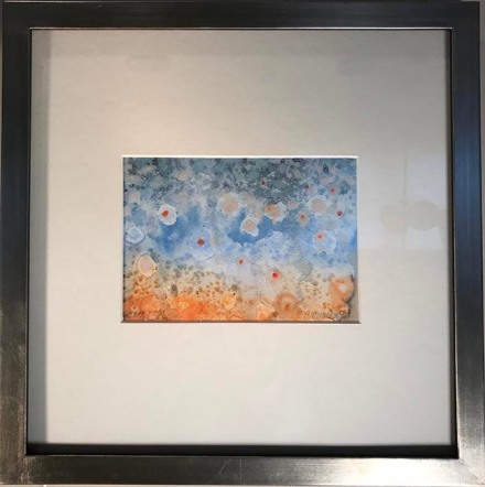 """Trout Water, 13 x 13"""", framed   $150"""