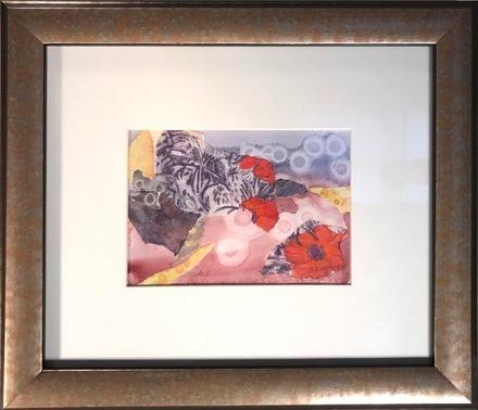 """Poppy II, 13.75 x 11.75"""" framed   $225"""