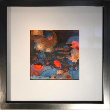 "Blue Water Red Spot, 13 x 13"", framed  $200"