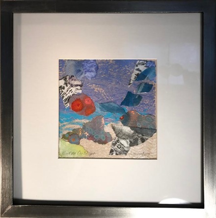 "Blue Water One Red Spot, 13 x 13"", framed   $200"