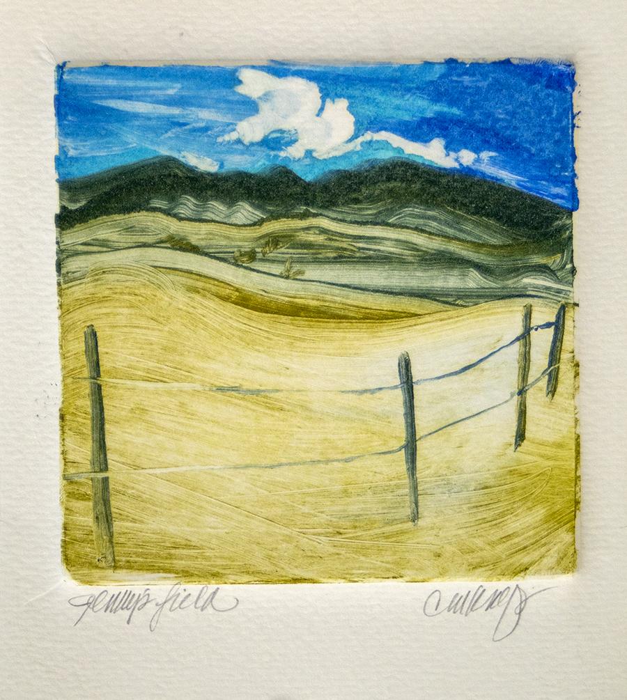 Field, fence, mountains, landscape, pasture