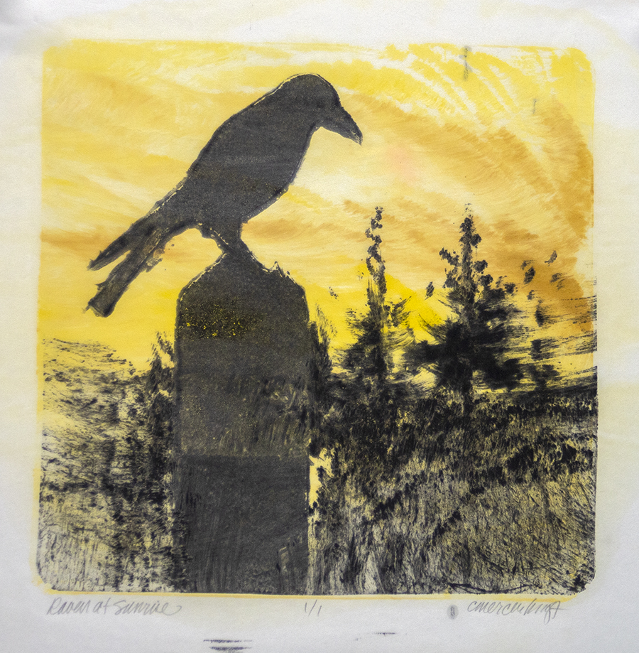 Sunrise, Raven, spruce